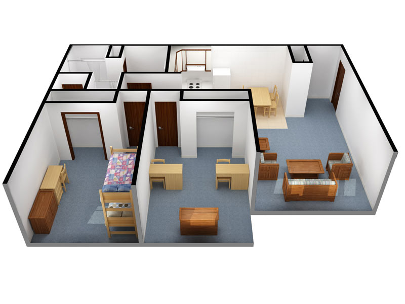 Campus View: 4 person/2 bedroom (3D view)