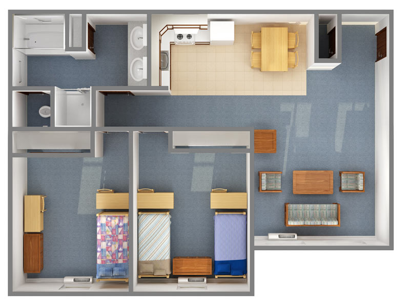 Campus View: 4 person/2 bedroom (top down view)